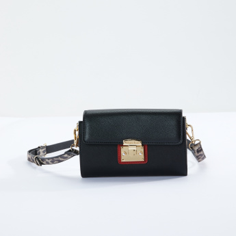 Charlotte Reid Crossbody Bag with Metallic Lock and Adjustable Strap