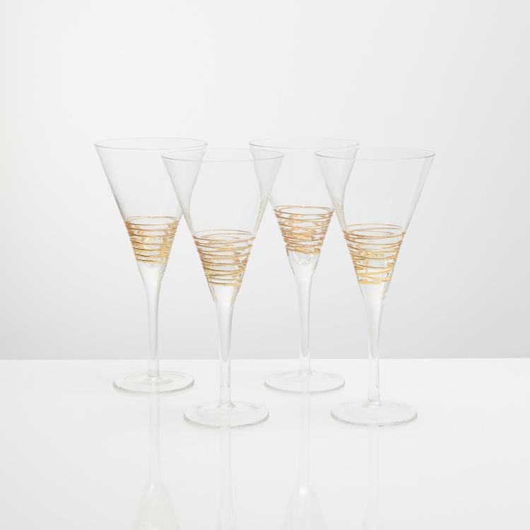 Circleware Gold Swirl Glass - Set of 4