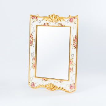 English Rose Printed Wall Mirror - 120x85x3 cms