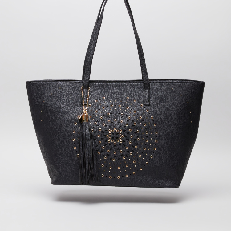 Sasha Laser Cut Detail Shopper Bag with Tassel Charm