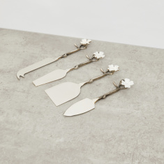 Floral Applique Cheese Serving Spoon - Set of 4