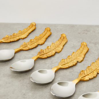 Dessert Serving Spoon with Leaf Shaped Stem - Set of 6