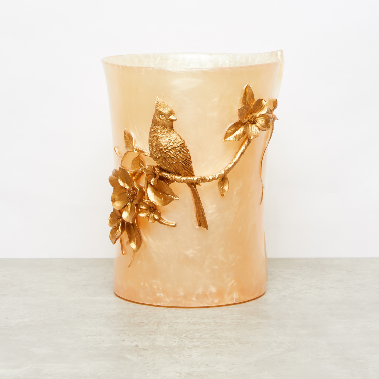 Golden Bird Metallic Detail Waste Bin