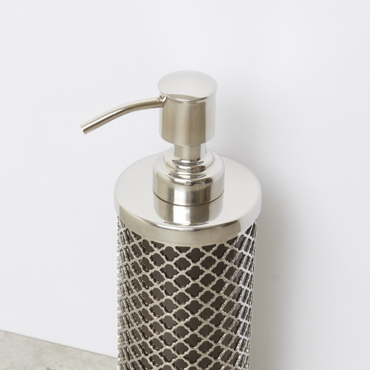Lotion Dispenser with Metal Cutouts