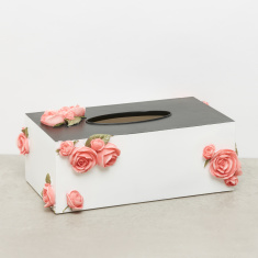 Rectangular Tissue Box with Floral Applique