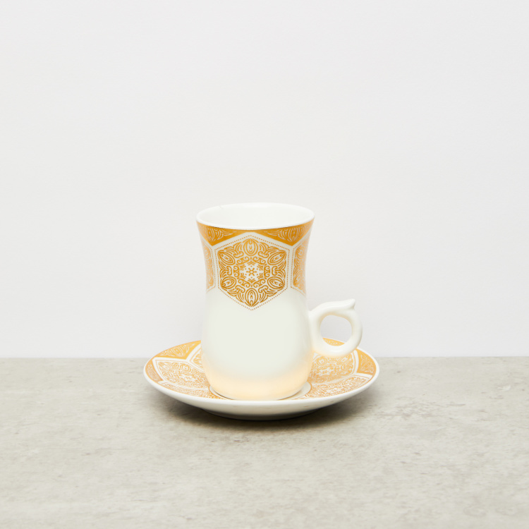 Printed 12-Piece Cup and Saucer Set