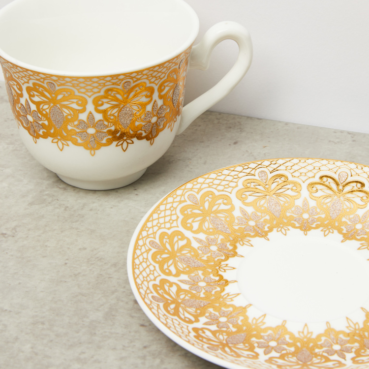 Printed 13-Piece Cup and Saucer Set with Stand - 220 ml