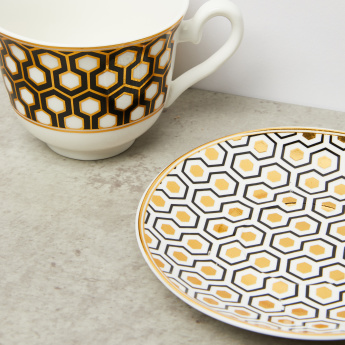 Printed 13-Piece Cup and Saucer Set with Stand