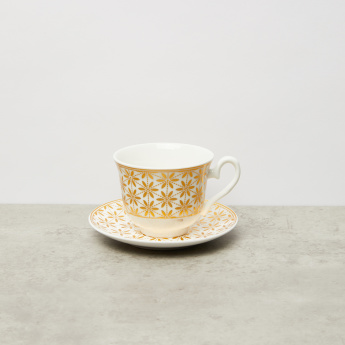 Floral Printed 13-Piece Cup and Saucer with Silver Stand