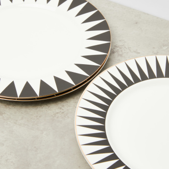 Decal and Golden Line Designed Round Plate - Set of 4