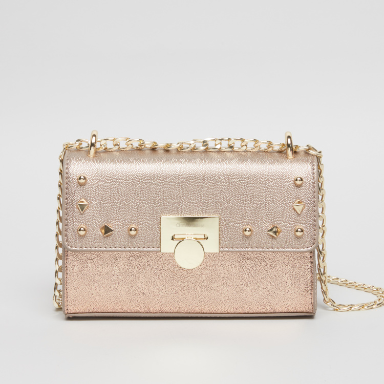 Charlotte Reid Textured Satchel Bag with Stud Detail