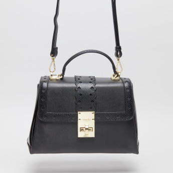 Charlotte Reid Satchel Bag with Metallic Twist Lock Closure