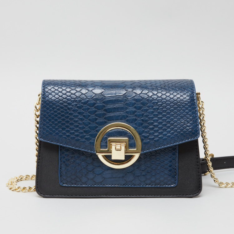 Charlotte Reid Textured Satchel Bag with Metallic Chain