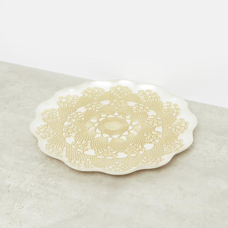 Antique Embossed Lace Plate - 33 cms