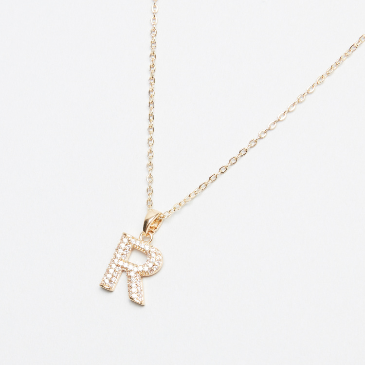 Sentiments Letter R  Pendant Chain with Stud Earrings