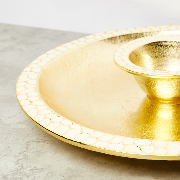 Alum Metallic 2-Piece Dip and Chip Platter Set