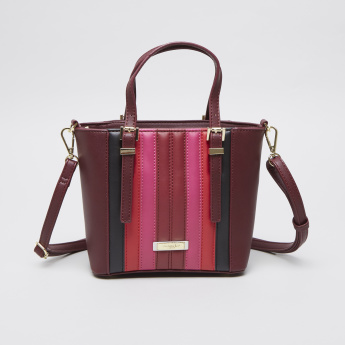 Charlotte Reid Color Blocked Satchel Bag with Crossbody Straps