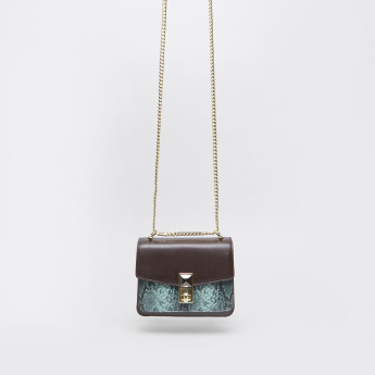Charlotte Reid Animal Printed Satchel Bag with Metallic Chain