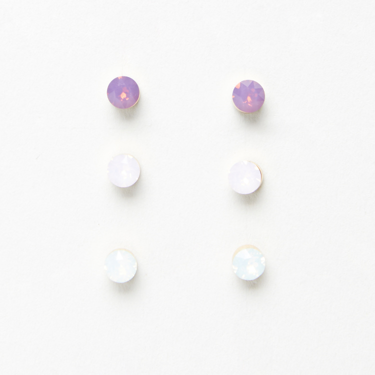 Sasha Studded Earrings with Pushback Closure - Set of 2