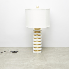 Metallic Glazed Table Lamp - 35.5x35.5x67 cms