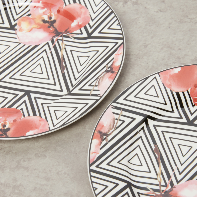Aztec Floral Printed Set of 4  Side Plate  - 19 cms