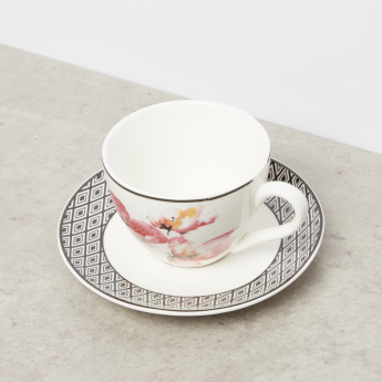 Aztec Floral Printed 8-Piece Cup and Saucer Set