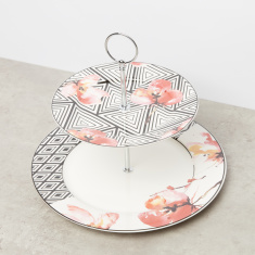 Aztec Floral Printed 2-Tier Cake Stand
