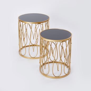 Cylindrical Metal Accent Tables -  Set of 2
