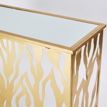 Rectangular Console Table with Mirror Top - 124x44x8 cms