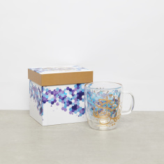 Printed Double Wall Glass Coffee Cup - 355 ml