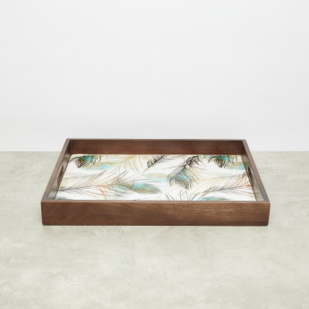 Peacock Feather Printed Rectangular Tray - 45.72x34.29 cms