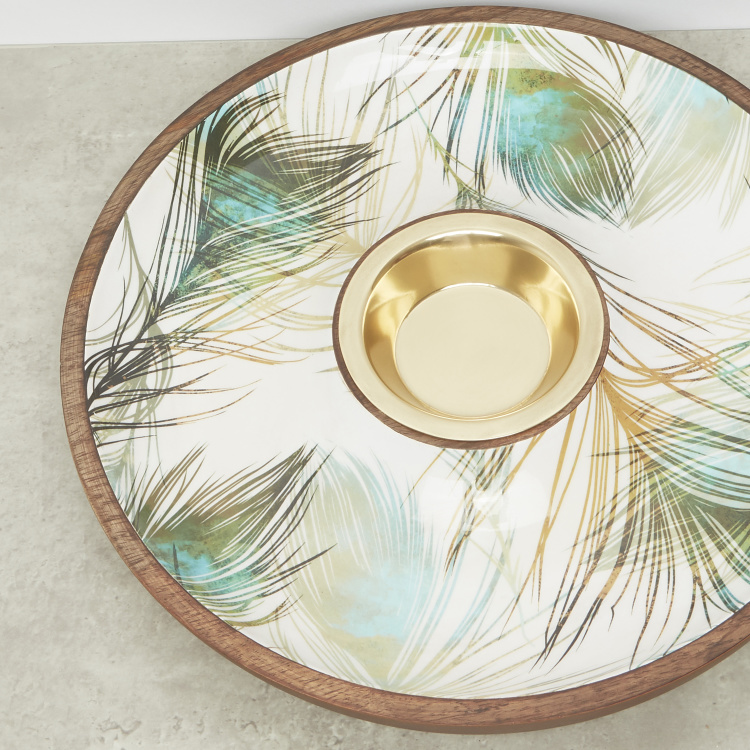 Peacock Feather Printed Chip and Dip Platter - 34.92 cms