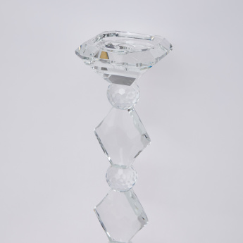 Crystal Pillar Candle Holder - 11x11x56 cms