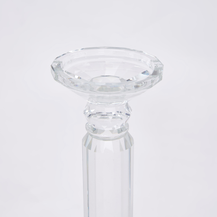 Crystal Pillar Candle Holder - 10x10x34 cms
