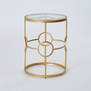 Glass Top Metal Accent Table - 38x38x51 cms