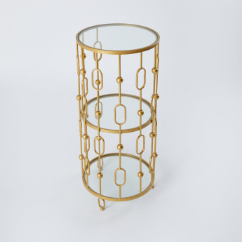 Cylindrical Glass Top Accent Table - 39x39x87 cms