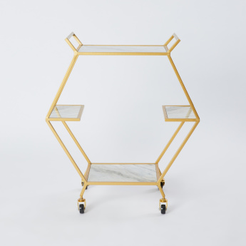 Hexagon Shaped Trolley with Wooden Top - 68x34x76 cms