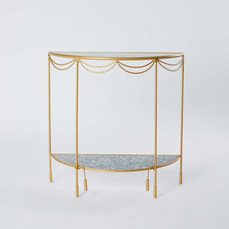 Half Moon Metal Console Table with Wooden Countertop - 80x32x78.5 cms
