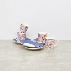 Printed Cup and Saucer - Set of 4