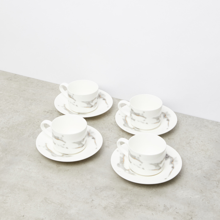 Marble Textured Cup and Saucer - Set of 4
