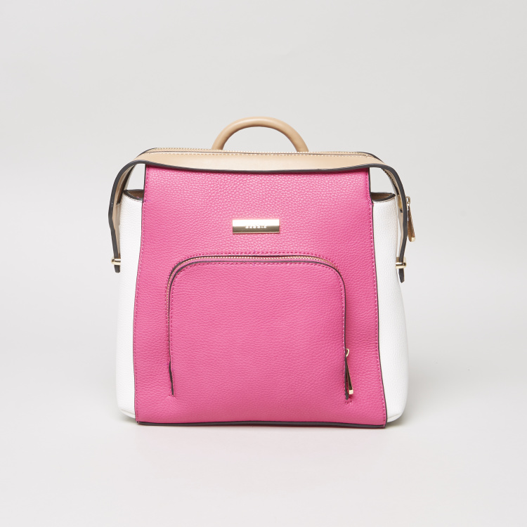 Bessie London Colour Block Backpack with Front Zip Pocket