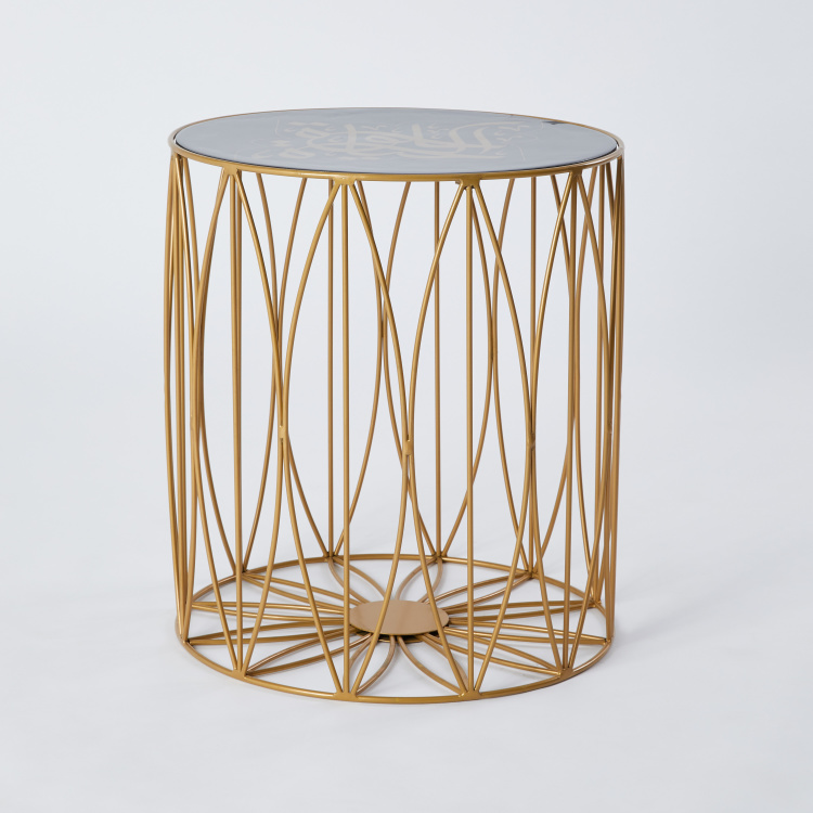 Arabic Calligraphy Cylindrical Accent Table - 45x45x50 cms