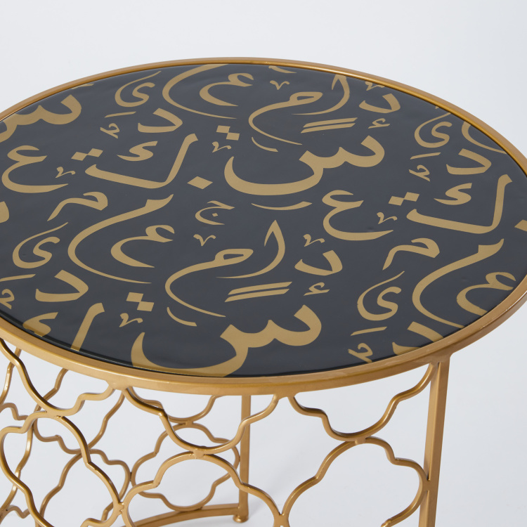 Printed Cylindrical 2-Piece Accent Table Set - 52x52x57 cms