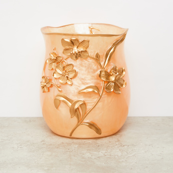 Floral Embossed Waste Bin - 20x20x24.5 cms