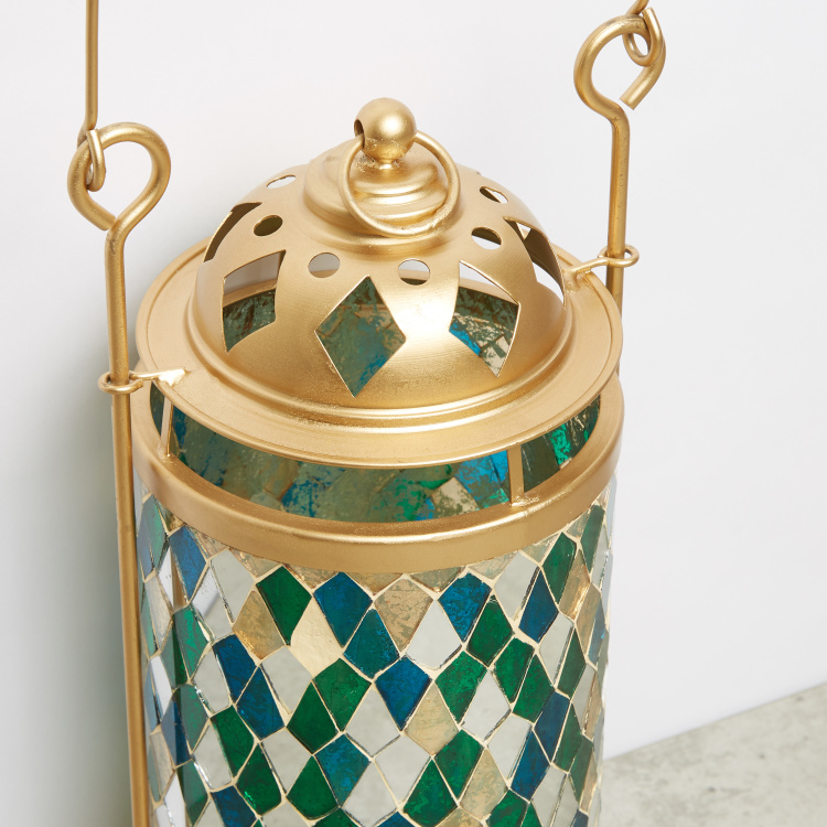 Textured Mosaic Lantern with Handle - 17x17x33 cms