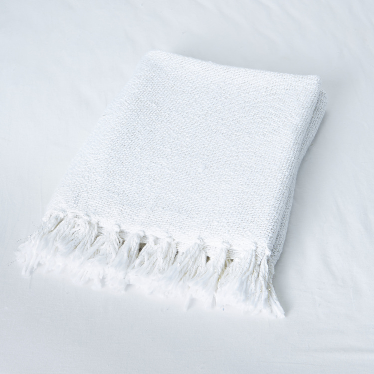 Slub Throw with Tassels - 150x180 cms