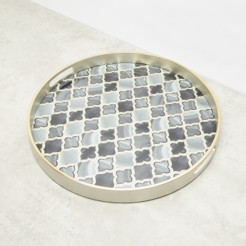 Moroccan Round Printed Tray with Cutout Handles – 45x45 cms