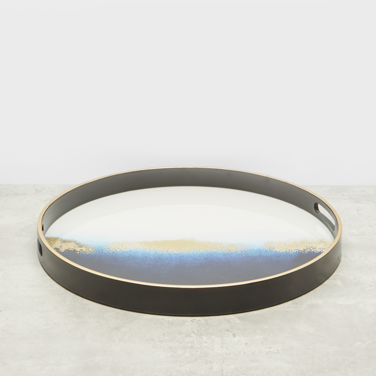 Ocean View Round Tray with Cutout Handles – 45x45 cms