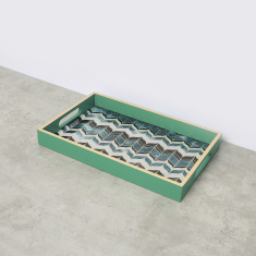 Rectangular Peacock Printed Tray with Handles - 25.5x40 cms