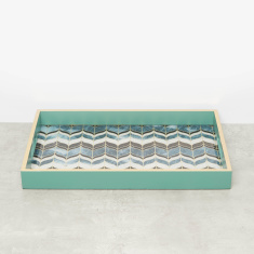 Peacock Tray with Cutout Handles - 30x45x4.5 cms